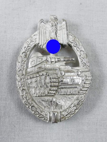 Wehrmacht Panzerkampfabzeichen Silber massiv mit Hersteller HA