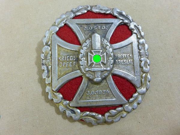 Abzeichen Plakette Schild Kriegsopfer Treffen Breslau 1934