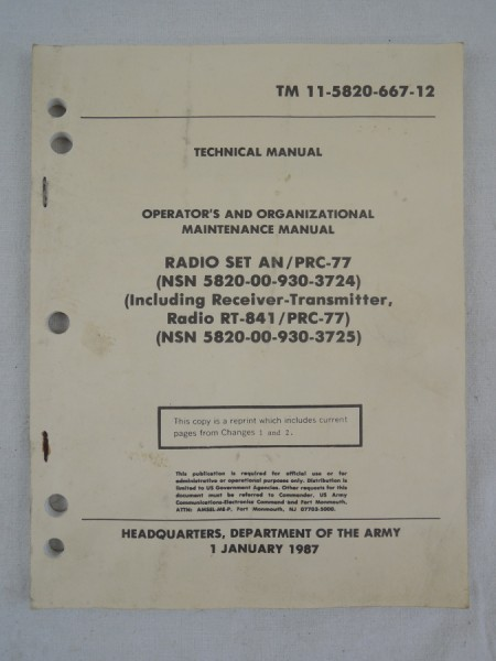 US Army TM 11-5820-667-12 Operator's And Organizational Maintenance Manual Radio Set PRC 77