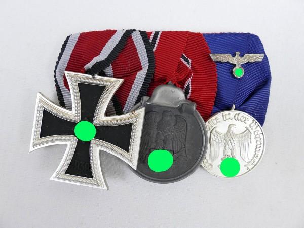 Wehrmacht WK2 3er Ordensspange EK2 1939 , Winterschlacht , Dienstauszeichnung 4 Jahre