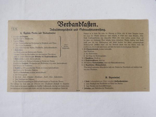 Inhaltsverzeichnis und Gebrauchsanweisung Verbandskasten Nachdruck