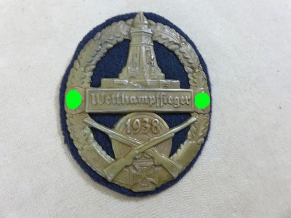 Abzeichen Plakette Schild Reichskriegerbund Wettkampfsieger 1938