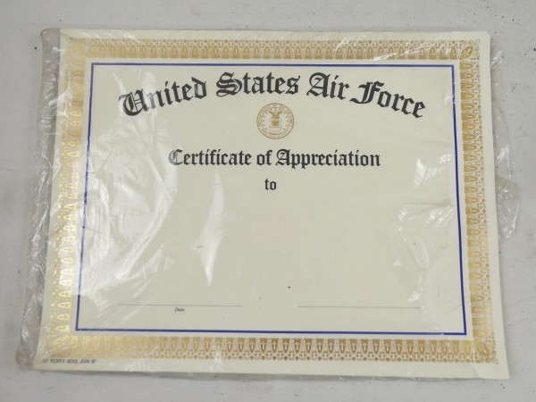 Original USAF United States Air Force - Certificates of Appreciation - Urkunden 10x