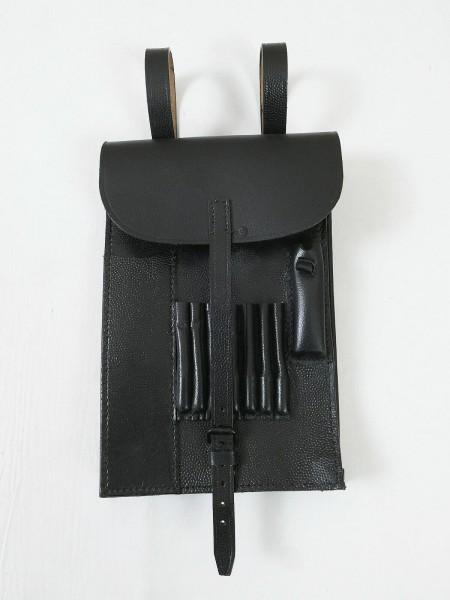 Wehrmacht Kartentasche Leder schwarz Meldetasche