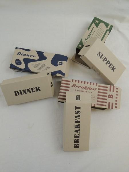 US ARMY WW2 Rations Type K Breakfast Supper Dinner Rationen Box Karton Verpflegung individual Ration