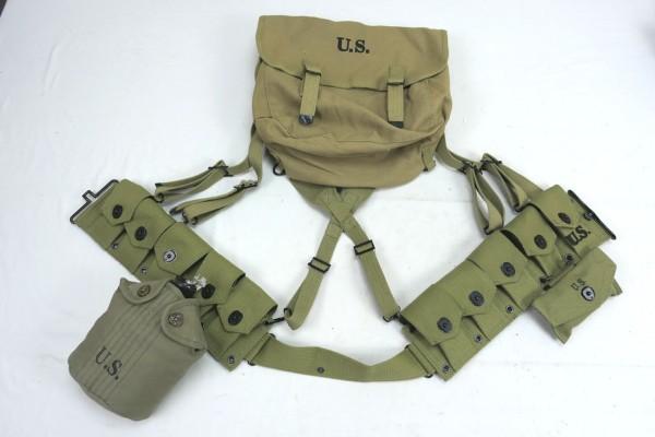 WW2 US Army Sturmgepäck Ausrüstung Garand M1 Ammo Belt Munitionsgurt Musette Feldflasche First Aid