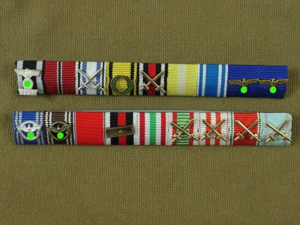 Wehrmacht 2x Bandspangen 9er mit Auflagen / Ribbon / Ordensspange Sepp Dietrich