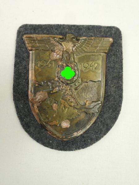 Wehrmacht Ärmelschild Krim 1941 1942 Krimschild auf blaugrauem Stoff Luftwaffe