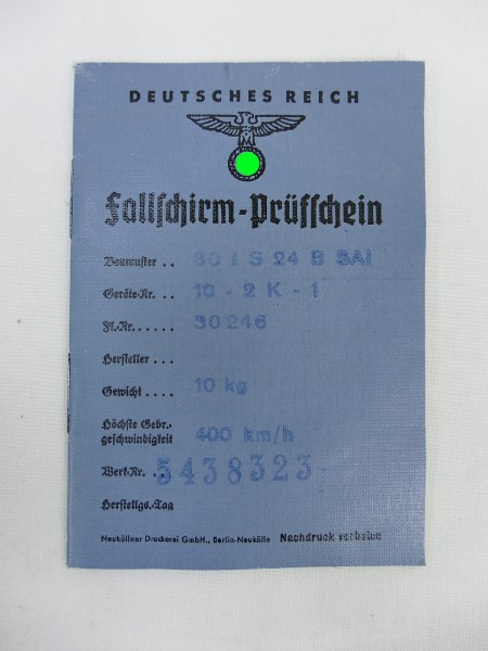 Wehrmacht Luftwaffe Fallschirm Prüfschein für Sitzfallschirm Pilot FL-30246