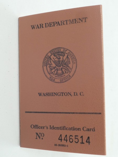 US ARMY WW2 War Department Officer´s Identification Card ID Ausweis