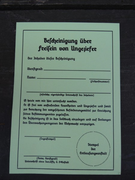"""Einleger """"Bescheinigung über Freisein von Ungeziefer"""""""