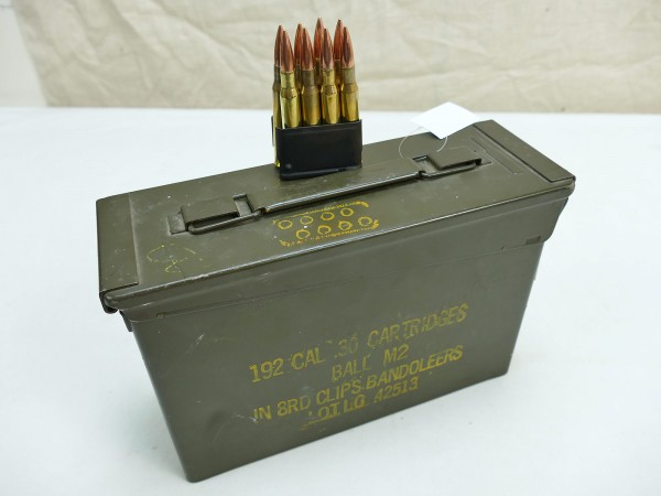US Army WW2 Munitionskiste Metall Kiste Ammunition Box 192 CAL .30 Cartridges Ball M2 in 8rd Clips