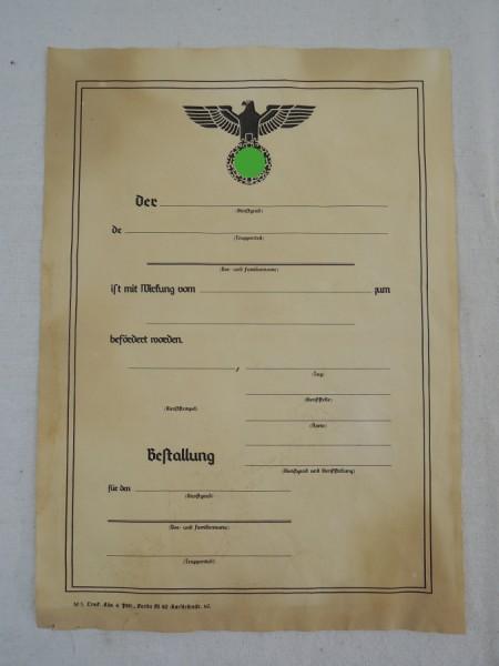 Wehrmacht Bestallungsurkunde