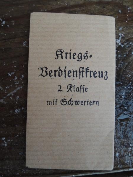 """Verpackung für Orden """"Kriegsverdienstkreuz 2.Klasse mit Schwertern"""""""