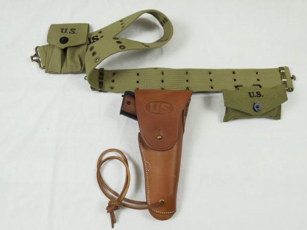 Pistol Belt mit US Army Colt M1911 Antik Caliber.45 Denix Deko in Holster + Ammo / first aid Pouches
