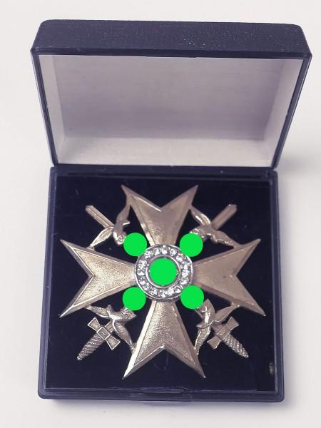 Spanienkreuz mit Schwertern und Diamanten Imitat an Nadel Ehrenkreuz