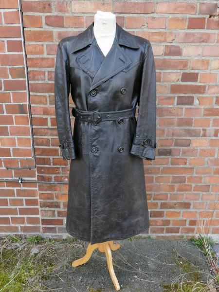 Vintage Wehrmacht Offiziers Mantel Polizei Gestapo Ledermantel Gr.48/50