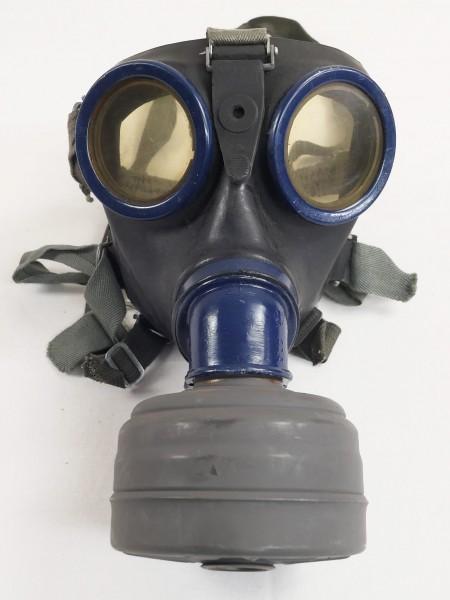 Wehrmacht Gasmaske Schutzmaske 1944 / Gr.3 Gummi mit Filter FE41 clf blau