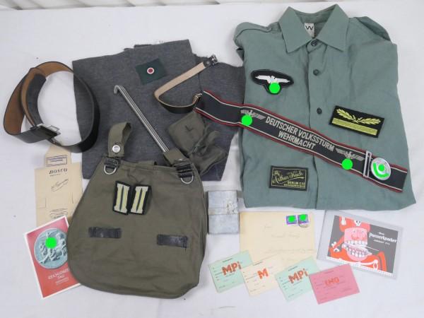 WK2 Wehrmacht Ausrüstungset - Brotbeutel Kameradenhilfe Koppel Schal Armbinde Abzeichen
