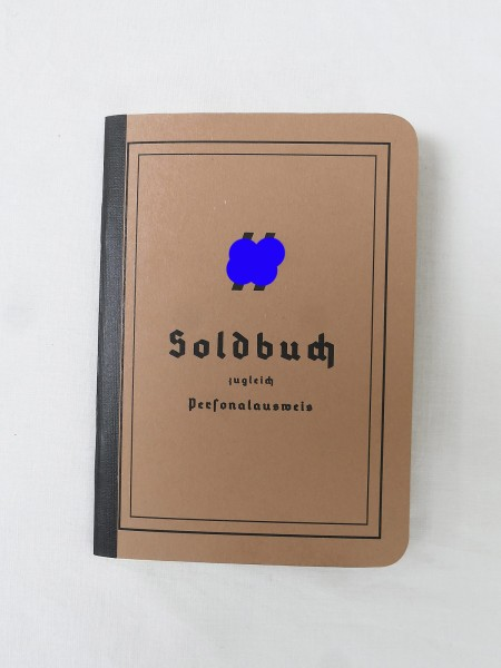 XX Soldbuch / Personalausweis Waffen Elite + 5 Einleger Merkzettel