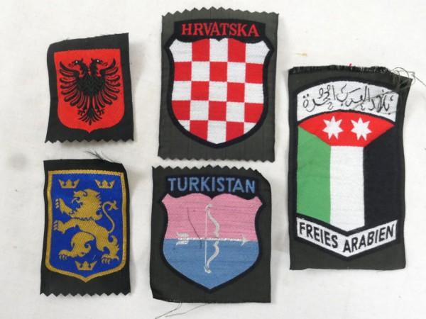 5x Ärmelabzeichen Uniform Ärmelschilder Freiwilligen Elite Kroatien Turkistan Freies Arabien Ukraine