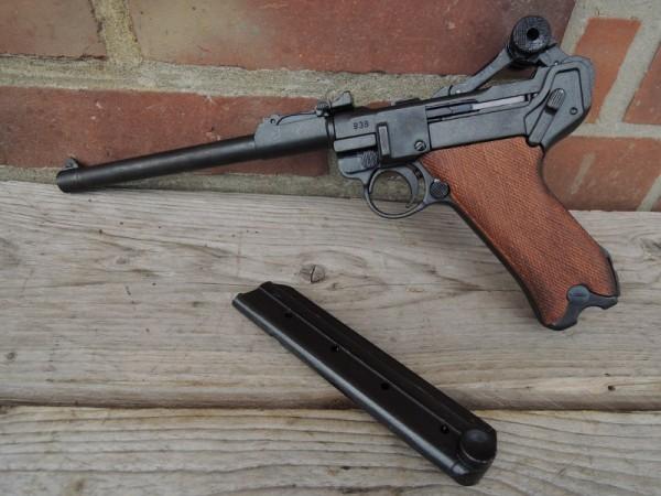 Pistole P08 Artilleri Deko Modell Filmwaffe