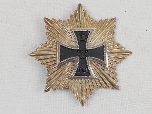 Bruststern Preussen Großkreuz des Eisernes Kreuz 1914 mit goldenen Strahlen Blücherstern