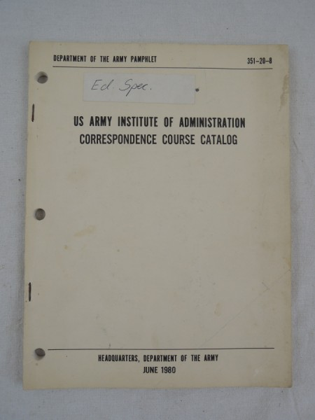 US Army Institute Of Administration Correspondence Course Catalog