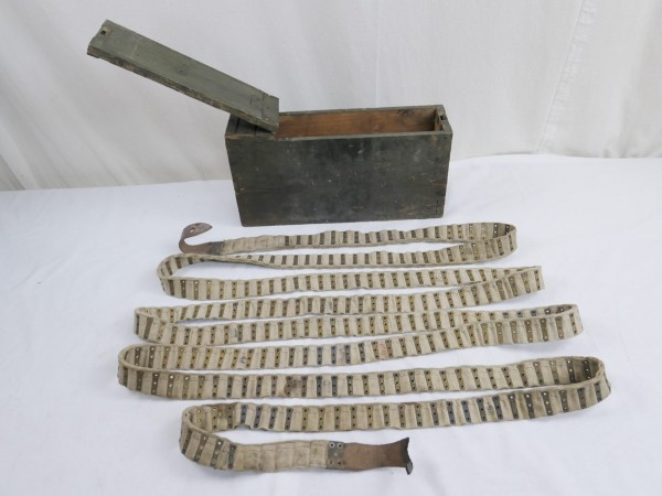 Schwarzlose Munitions Holzkiste mit Munitionsgurt Stoffgurt für 250 Schuß Reichswehr 1927