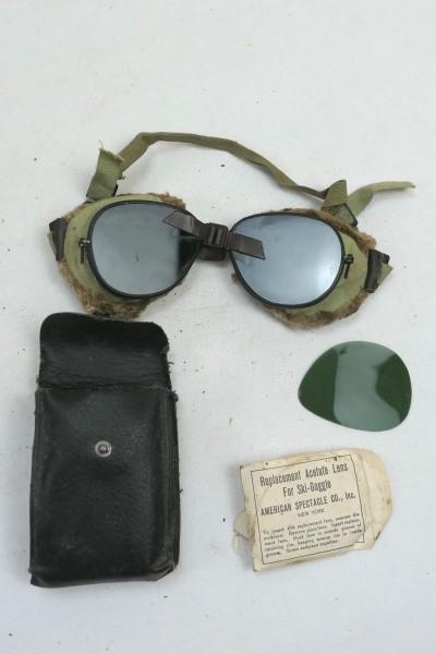 US ARMY WW2 Ski + Mountain Trooper Goggles - Gebirgsjäger Brille in Etui