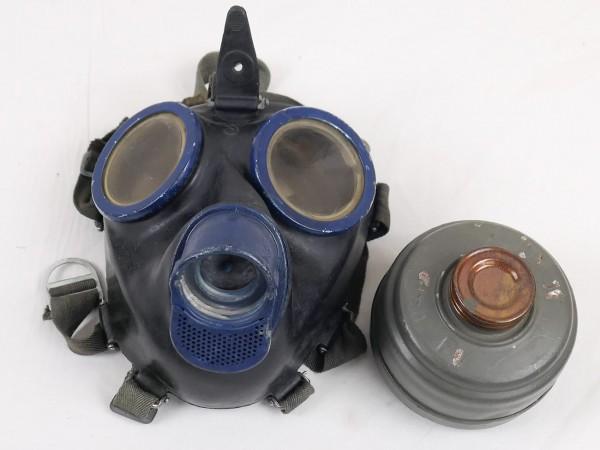 Wehrmacht Gasmaske btc 1944 Schutzmaske Gr.3 Gummi mit Filter FE41 clf blau