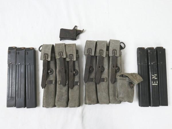 SET #D MP 38u.40 2x Stück Magazintasche alt - MP38 MP40 mit 6 Magazinen und Lader