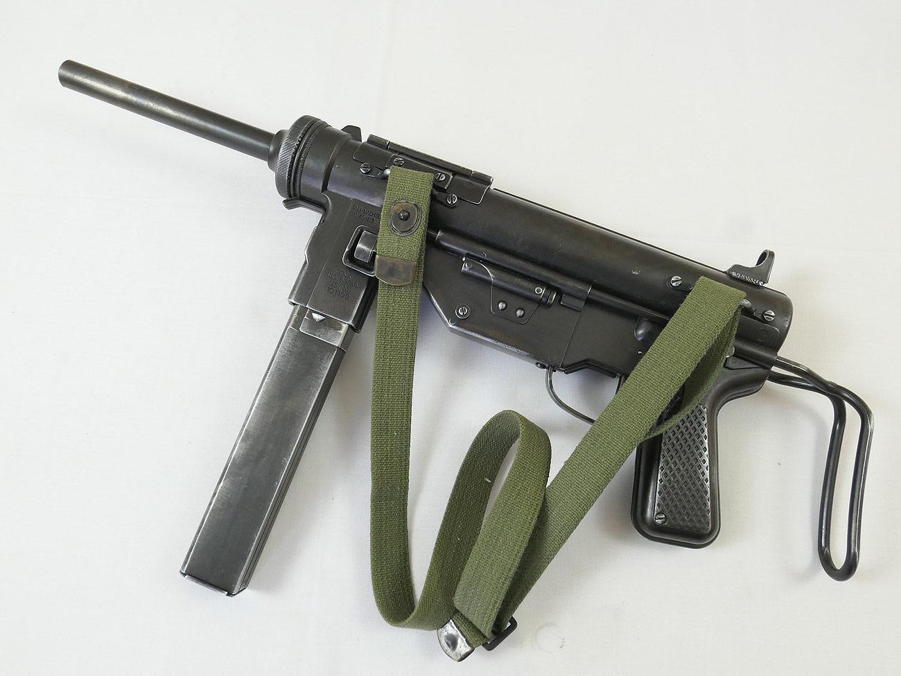 Grease Gun LUXUS SET - US ARMY WW2 M3 Submachine Gun Cal 45 Deko Modell  Filmwaffe Maschinenpistole