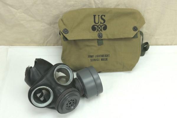 WW2 US ARMY Lightweight Service Mask bag + Original WW2 Gasmaske British Made 1944