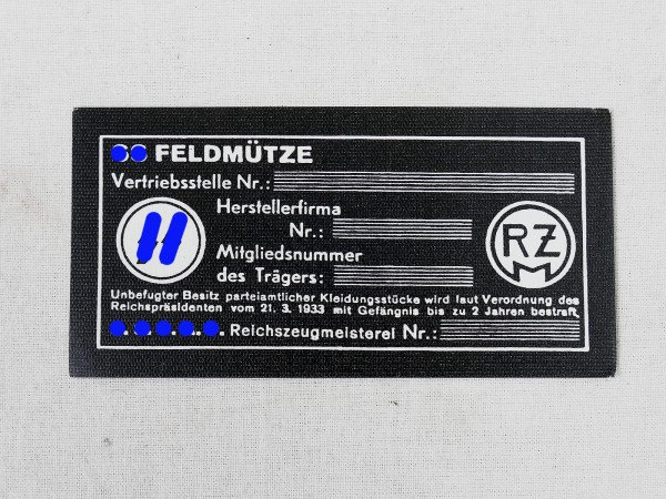 RZM Herstelleretikett für die WSS Feldmütze Etikett