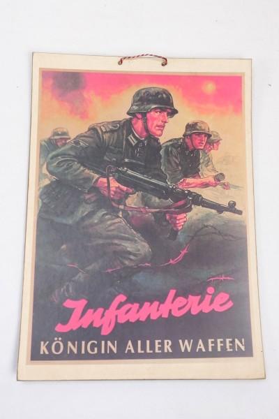 Wehrmacht Schild Bild aus festem Karton - Infanterie Königin aller Waffen