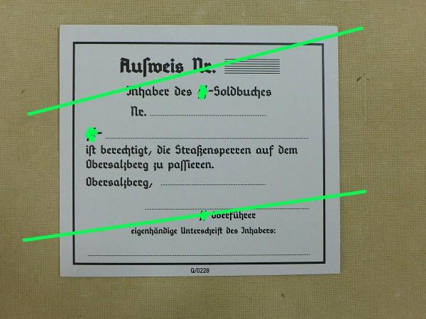 """Passierschein """"Obersalzberg"""" für WSS Angehörige"""