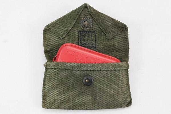 Original US Army First Aid Kit M-1942 Pouch + Dressing Packet /Erste Hilfe Verbandtasche + Verband