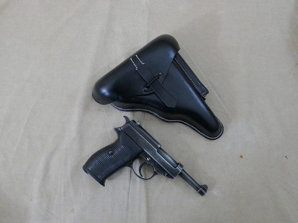 SET Pistole P38 antik Deko Modell mit P38 Leder Holster / Koffertasche