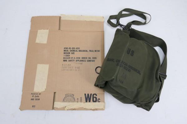 Original US Gasmaske M17A1 mit Tasche + Karton Mask Protective Field M17 - 1980er Jahre