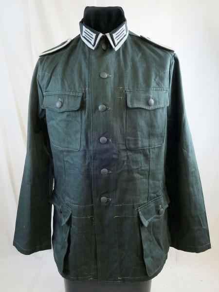 Wehrmacht Drillich Feldbluse Drillichjacke M40 Feldwebel Uniform mit Kragenspiegeln