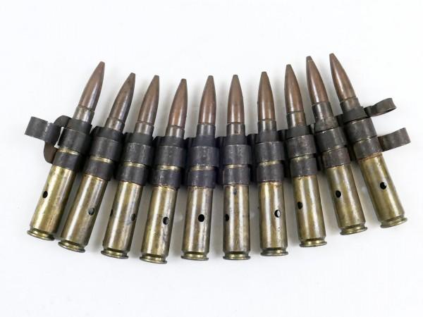 US ARMY WW2 Deko Munition 10 Schuss Cal .50 auf Gurt Munitionsgurt Browning