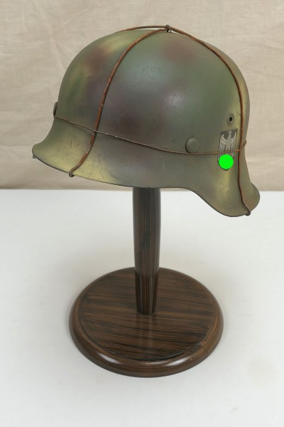 Wehrmacht Stahlhelm Tarnhelm M42 Gr.59 Original Heeres Glocke gestempelt SD mit Hühnerdraht