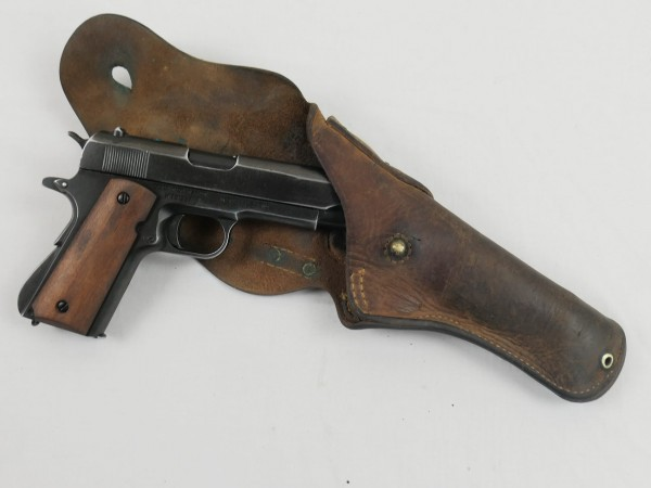 US Army Colt M1911 Antik Automatic Caliber.45 Denix Deko Waffe Holzgriff in Original Holster